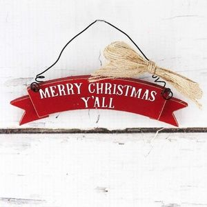 Red Merry Christmas Y'all Wood Paula Deen Ornament